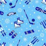 Modello senza cuciture degli sport invernali Fondo stagionale di aria aperta Progettazione di vettore dell'attrezzatura di sport  illustrazione di stock