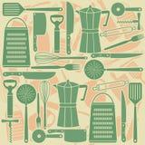 Modello senza cuciture degli strumenti della cucina Fotografia Stock Libera da Diritti