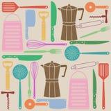 Modello senza cuciture degli strumenti della cucina Immagine Stock