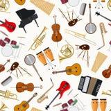 Modello senza cuciture degli strumenti musicali di jazz Fotografie Stock Libere da Diritti