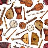 Modello senza cuciture degli strumenti musicali pieghi illustrazione vettoriale