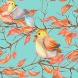 Modello senza cuciture degli uccelli dell'acquerello sui rami con le foglie rosse, disegnato a mano su un fondo blu illustrazione vettoriale