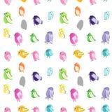 Modello senza cuciture degli uccelli divertenti dell'acquerello Immagini Stock