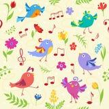 Modello senza cuciture degli uccelli musicali svegli della molla Fotografia Stock