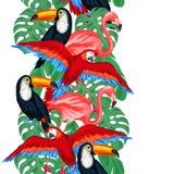 Modello senza cuciture degli uccelli tropicali con le foglie di palma Fotografia Stock