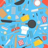 Modello senza cuciture degli utensili della cucina Immagine Stock Libera da Diritti