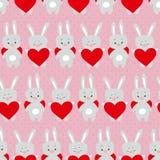 Modello senza cuciture dei biglietti di S. Valentino svegli con i conigli del fumetto con cuore Fotografia Stock Libera da Diritti