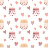 Modello senza cuciture dei biscotti dei cuori di forma di amore, barattoli di inceppamento su un fondo leggero Immagine di vettor royalty illustrazione gratis