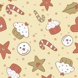 Modello senza cuciture dei biscotti del pan di zenzero di Natale Immagini Stock