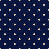 Modello senza cuciture dei blu navy d'annata con Tan Polka Dots Fotografia Stock