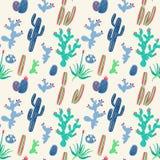 Modello senza cuciture dei cactus disegnati a mano Immagini Stock