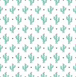 Modello senza cuciture dei cactus su un fondo bianco Modello senza cuciture di vettore con i cactus Fondo bianco con i cactus ed  royalty illustrazione gratis