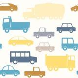 Modello senza cuciture dei camion e delle automobili Fotografia Stock Libera da Diritti