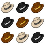 Modello senza cuciture dei cappelli variopinti del fumetto Fotografie Stock