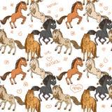 Modello senza cuciture dei cavalli svegli illustrazione di stock