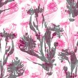 Modello senza cuciture dei cereale-fiori rosa e grigi illustrazione di stock