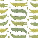Modello senza cuciture dei coccodrilli svegli illustrazione vettoriale