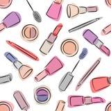 Modello senza cuciture dei cosmetici decorativi su fondo bianco Immagine Stock