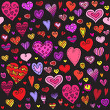 Modello senza cuciture dei cuori di amore Cuore di scarabocchio fondo romantico Illustrazione di vettore Immagine Stock Libera da Diritti