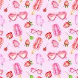 Modello senza cuciture dei dessert saporiti dipinti a mano di estate dell'acquerello su fondo rosa Elementi decorativi variopinti royalty illustrazione gratis