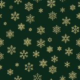 Modello senza cuciture dei fiocchi di neve dorati di inverno del buon anno e di Buon Natale ENV 10 illustrazione vettoriale