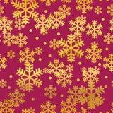 Modello senza cuciture dei fiocchi di neve rossi dorati di Natale illustrazione di stock
