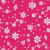 Modello senza cuciture dei fiocchi di neve rossi di natale bianco illustrazione vettoriale