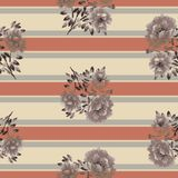 Modello senza cuciture dei fiori beige della peonia su un fondo beige con le bande orizzontali grige e di corallo watercolor Illustrazione di Stock
