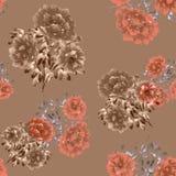 Modello senza cuciture dei fiori beige e arancio su un fondo beige profondo watercolor Immagine Stock Libera da Diritti