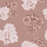 Modello senza cuciture dei fiori beige e bianchi della peonia su un fondo beige profondo watercolor Fotografia Stock
