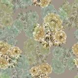Modello senza cuciture dei fiori beige e verdi delle peonie su un fondo beige profondo Priorità bassa floreale watercolor Royalty Illustrazione gratis