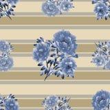 Modello senza cuciture dei fiori blu della peonia su un fondo beige con le bande orizzontali beige e grige watercolor Illustrazione di Stock