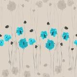 Modello senza cuciture dei fiori blu e beige su un fondo beige watercolor Royalty Illustrazione gratis