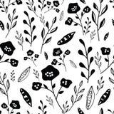 Modello senza cuciture dei fiori disegnati a mano in bianco e nero illustrazione vettoriale