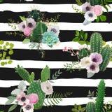 Modello senza cuciture dei fiori e del cactus Fondo botanico di estate tropicale esotica Immagini Stock Libere da Diritti