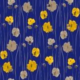 Modello senza cuciture dei fiori gialli e beige del papavero su un fondo blu scuro watercolor illustrazione di stock