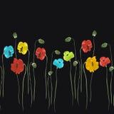 Modello senza cuciture dei fiori rossi, blu, gialli sui precedenti neri Acquerello -2 royalty illustrazione gratis