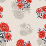 Modello senza cuciture dei fiori rossi e beige delle peonie su un fondo beige watercolor Illustrazione di Stock