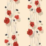 Modello senza cuciture dei fiori rossi e beige dei papaveri su un fondo beige leggero watercolor Immagine Stock