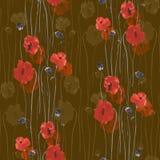Modello senza cuciture dei fiori rossi e beige dei papaveri su un fondo beige scuro Acquerello -1 Immagine Stock Libera da Diritti