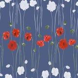 Modello senza cuciture dei fiori rossi e bianchi dei papaveri su un fondo blu profondo Acquerello - 2 illustrazione vettoriale