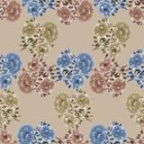 Modello senza cuciture dei fiori selvaggi blu e beige su un fondo beige watercolor Illustrazione Vettoriale