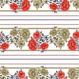 Modello senza cuciture dei fiori selvaggi rossi e beige un fondo bianco con le bande orizzontali rosse e beige watercolor Illustrazione Vettoriale