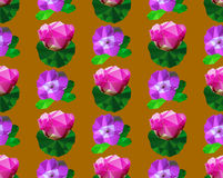 Modello senza cuciture dei fiori stilizzati poligonali con le foglie Fotografia Stock