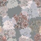Modello senza cuciture dei fiori verdi, viola e grigi delle peonie su un fondo grigio profondo Priorità bassa floreale watercolor illustrazione vettoriale