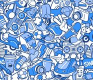 Modello senza cuciture dei graffiti con la linea collage delle icone royalty illustrazione gratis