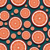 Modello senza cuciture dei grafici arancio della fetta della frutta fotografia stock