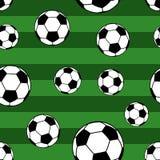 Modello senza cuciture dei palloni da calcio illustrazione di stock