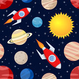 Modello senza cuciture dei pianeti & di Rockets Fotografie Stock Libere da Diritti