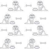 Modello senza cuciture dei poveri cani affamati infelici Immagine Stock